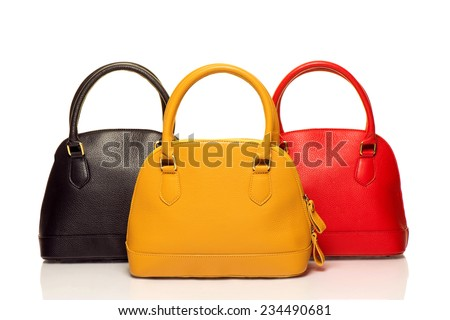 three purses on white background - stock photo