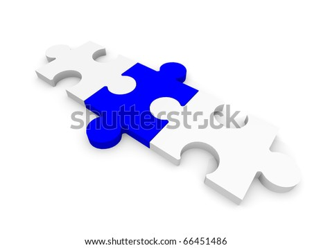 Three puzzle pieces white blue white