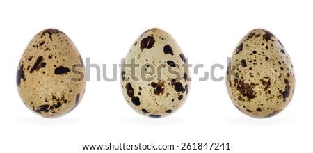 three quail eggs isolated on white background - stock photo