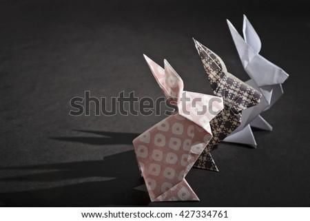 Three rabbits origami - stock photo