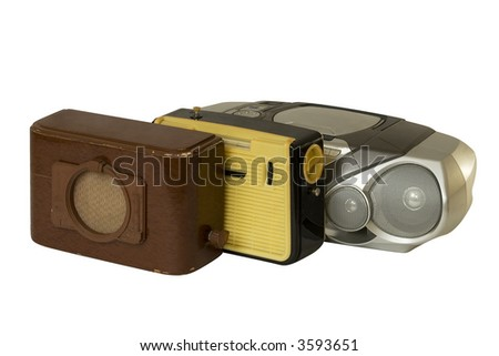 three radio-sets over white - stock photo