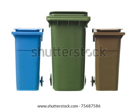 Three Recycling Bins isolated on white background - stock photo