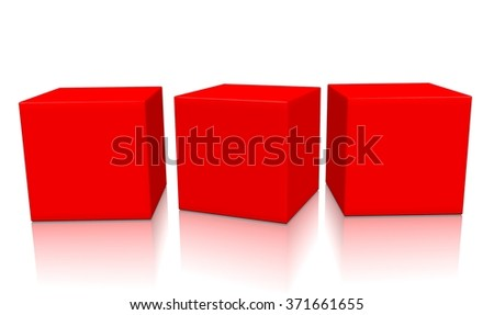 Three red aligned 3d blank concept boxes with shadows isolated on white background. Rendered illustration. - stock photo