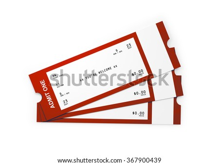 Three red and white admission tickets isolated on white background.Clipping path is included. - stock photo