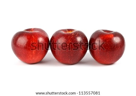 Three red apple isolated - stock photo
