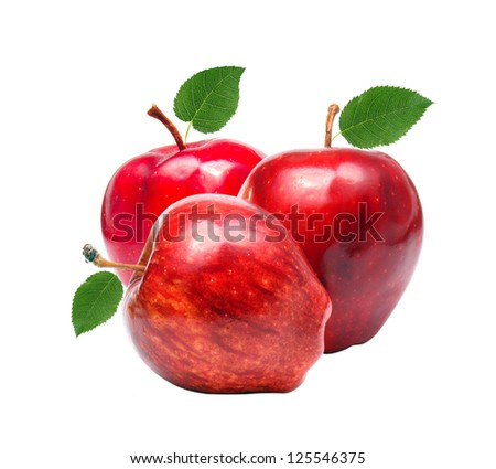 Three red apples isolated on white. - stock photo