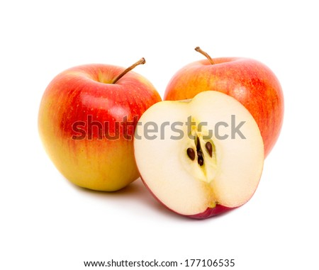 Three red apples on white - stock photo
