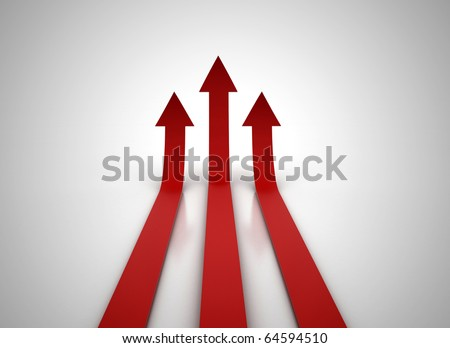 Three red arrows going up - success concept illustration - stock photo