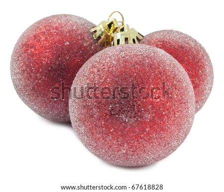 Three Red Christmas ball on white background