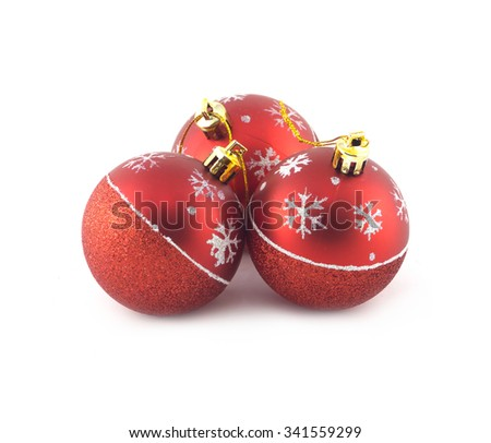 Three red Christmas balls isolated on white background. Studio shot closeup - stock photo