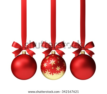 three red christmas balls with bows, isolated on white - stock photo