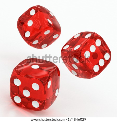 three red dices falling on a white background - stock photo