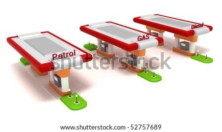 Three red filling stations isolated on white - stock photo