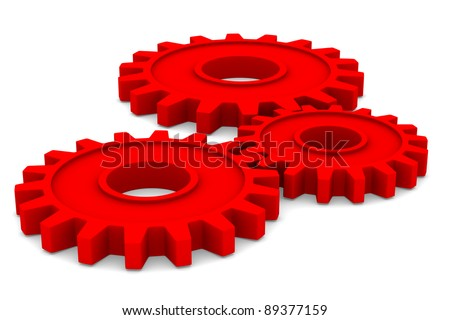 Three red gears on white background. Isolated 3D image - stock photo