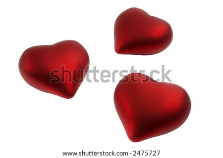 Three red hearts isolated over a white background - stock photo