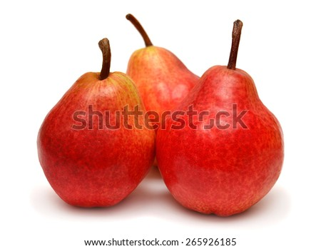 Three red pears isolated on white background - stock photo