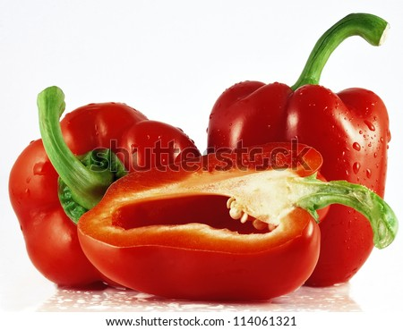 three red pepper - stock photo