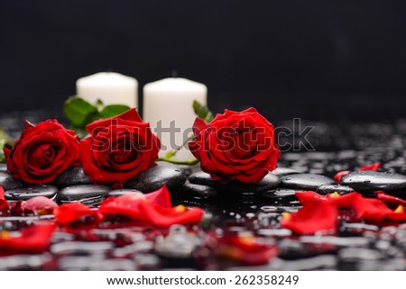 Three Red rose ,candle and wet stones - stock photo