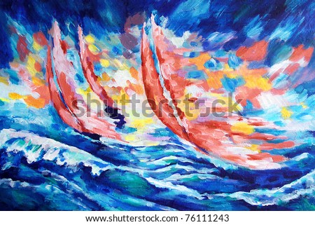 three red sails against the sky and the sea and the coming sun drawn by oil color on canvas - stock photo