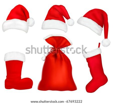 Three red santa hats. Christmas stocking and boot and bag. Raster version of vector. - stock photo