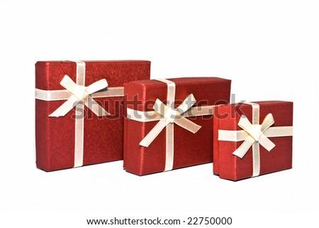 Three red souvenir boxes white background isolate. - stock photo