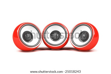 three red speakers