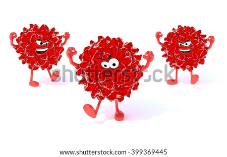 three red virus with arms, legs and face, 3d illustration - stock photo