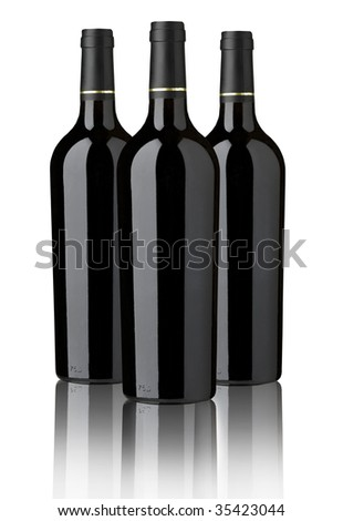 THREE RED WINE BOTTLES FOR  LABEL DESIGN - stock photo