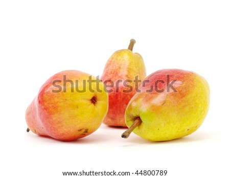 three red-yellow pears on white isolated