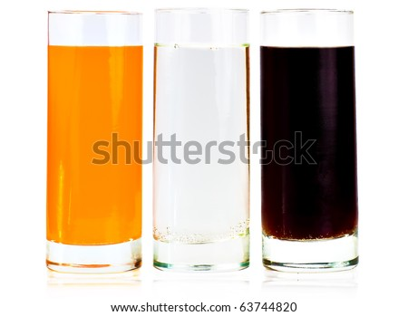 Three refreshment drink tall highball glasses on a white background - stock photo
