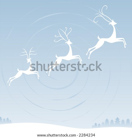 Three reindeer fly through the winter sky over the trees and snowy terrain below -- each with unique antlers - stock photo