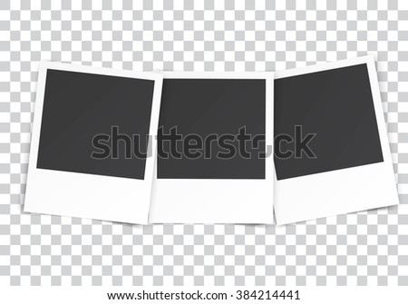 three Retro blank photography with a black place for your image in a photo album page. photo frame with shadow on a transparent background for your object. illustration Raster version - stock photo