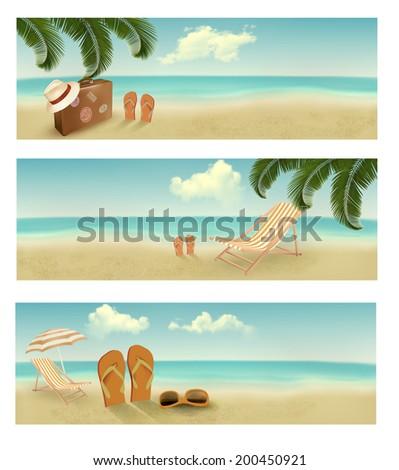 Three retro summer vacation banners. Raster version - stock photo