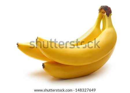 Three ripe bananas on white background