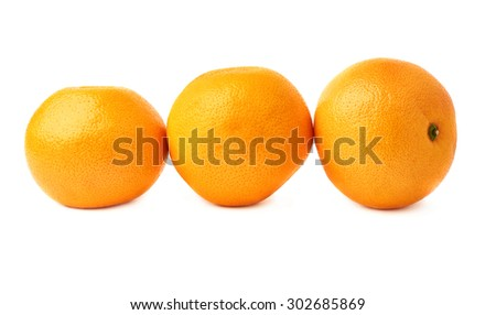 Three ripe fresh juicy grapefruits composition isolated over the white background - stock photo