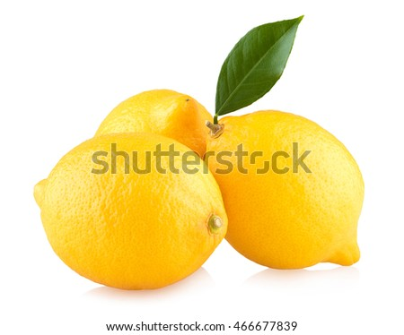three ripe lemons isolated on white background