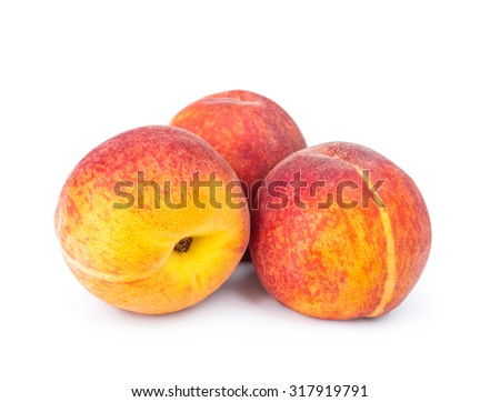 three ripe peach isolated on white background - stock photo