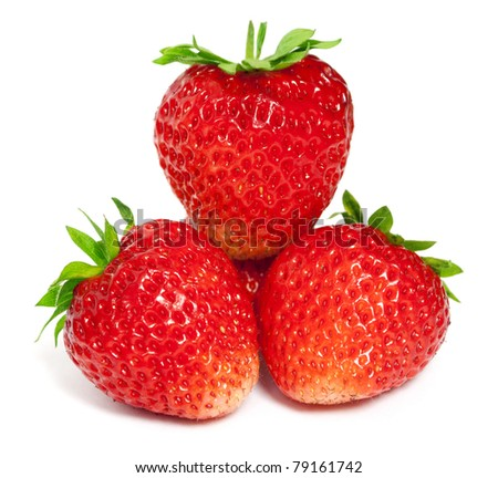Three ripe strawberries on a white background - stock photo
