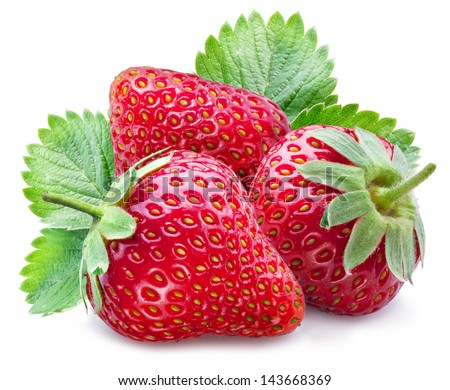 Three ripe strawberries with leaves on a white background. - stock photo