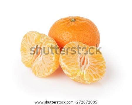 three ripe tangerines isolated on white - stock photo