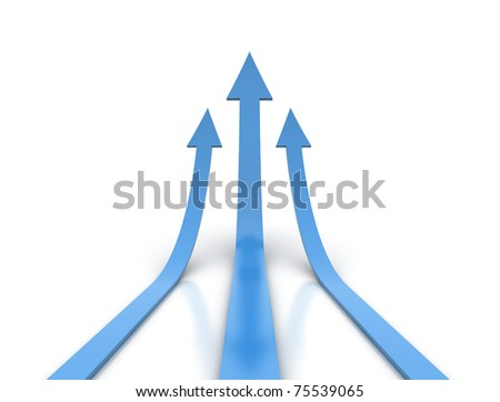 Three rising blue arrows - stock photo