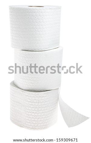 Three rolls of white perforated toilet paper isolated on white background - stock photo