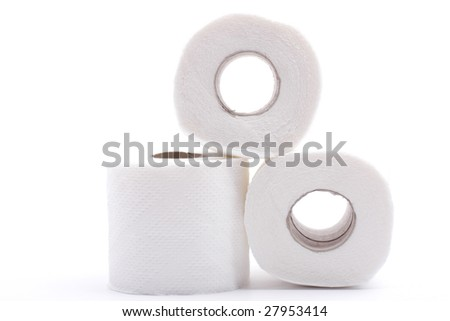 three rolls toilet paper background - stock photo