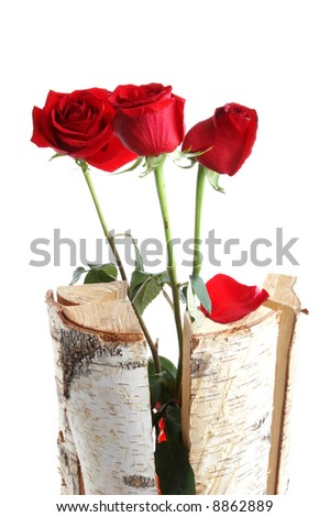 Three roses in wooden sticks - stock photo