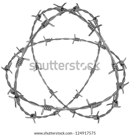 Three rotating circle of barbed wire - stock photo