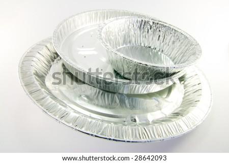 Three round mixed catering trays - stock photo