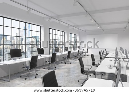 Three rows of computer tables in a light modern open space office, one of them along the window. Big blank screen on the wall. New York view.  3D rendering. - stock photo