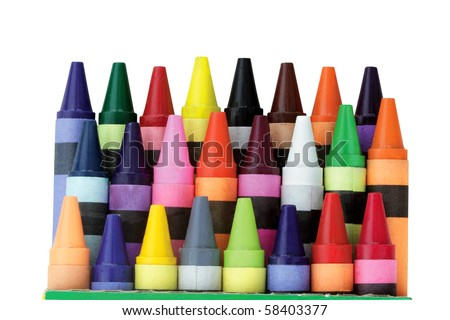 Three rows of wax crayons in a box with clipping path included. Shallow DOF. - stock photo