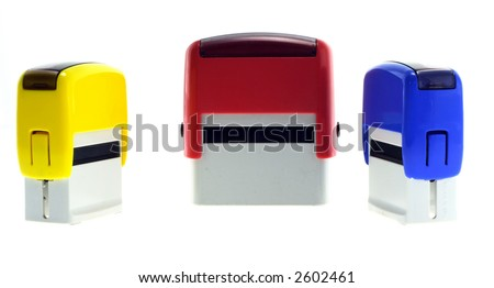 Three rubber stamps - stock photo