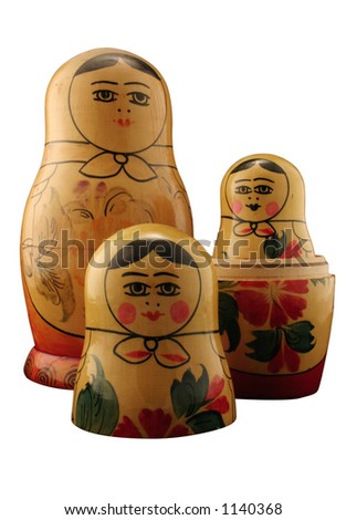 Three Russian dolls. Isolated with path. - stock photo